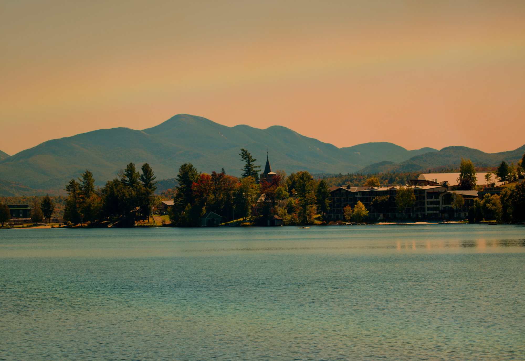 rainbow over lake placid